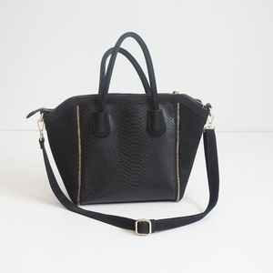 Black Leather and Suede Crocodile Zipper Satchel